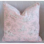 Image of Designer French Pink Toile & Velvet Feather/Down Pillows - Pair