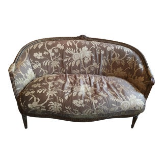 Louis XVI Brown & White Settee