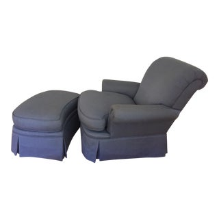 Lee Furniture Custom Upholstered Chair & Ottoman