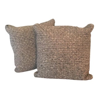 Gray Wool Accent Pillows - Pair