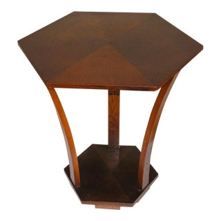 Art Deco Hexagonal Oakwood Side Table