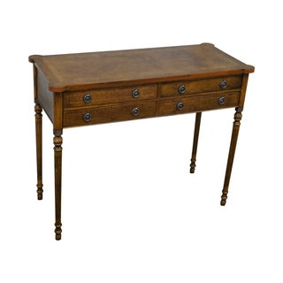 English Burl Walnut Sheraton Style Console Table