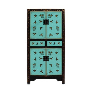 Chinese Distressed Turquoise & Gold Butterfly Cabinet