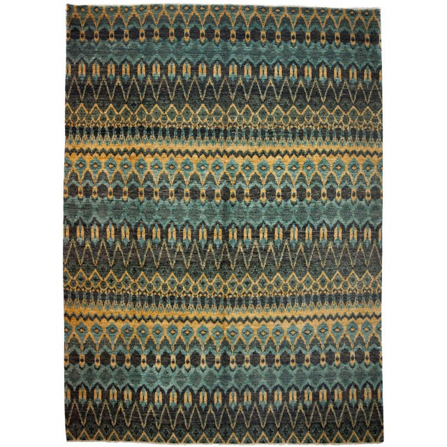 "New Ikat Hand Knotted Area Rug - 10' x 13'8"" - Image 1 of 3"