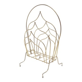 Hollywood Regency Brass Tiered Magazine Rack