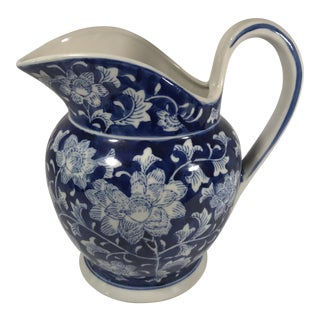 Chinoiserie Blue and White Pitcher