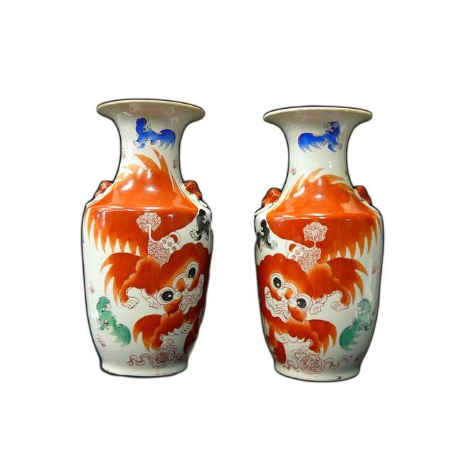 Chinese White Porcelain Orange Foo Dog Vases - 2 - Image 1 of 6