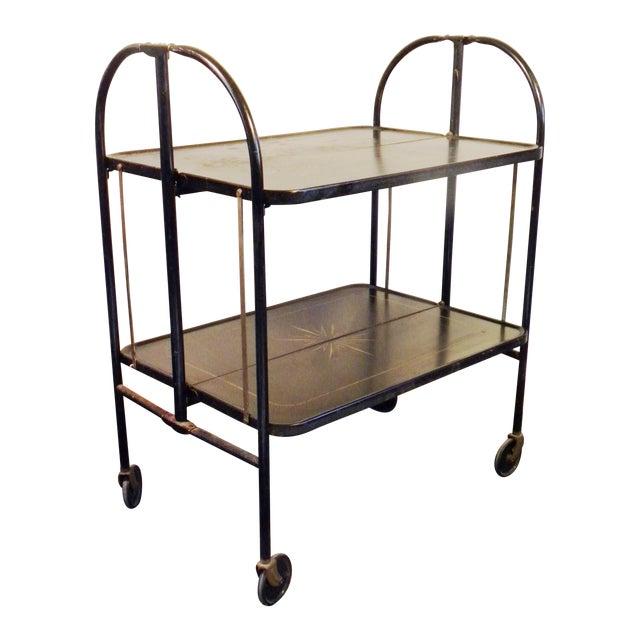 Vintage Metal Cart: Vintage Mid Century Metal Folding Bar Cart