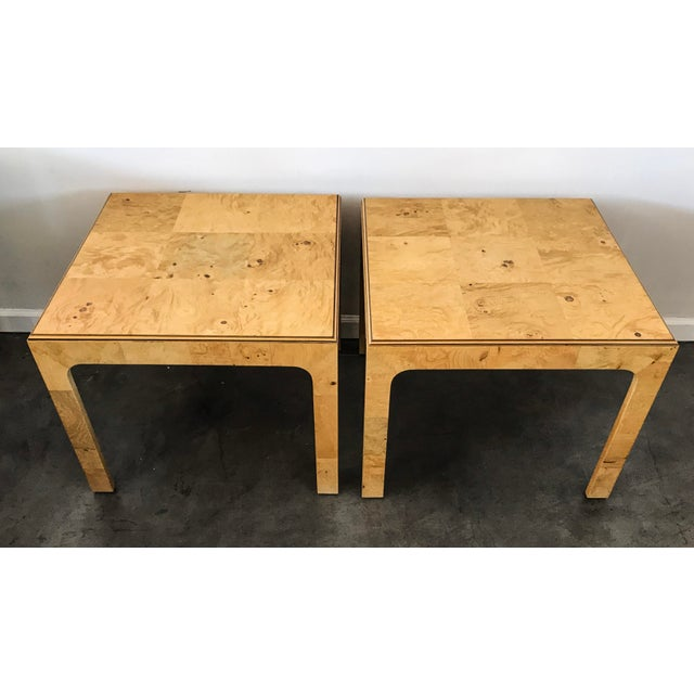 Henredon Scene Two Burl Olive Wood Side Tables - A Pair - Image 3 of 4