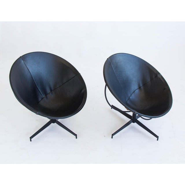 Image of Leather Bucket Chairs by William Katavolos - Pair