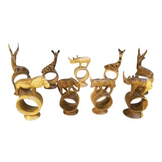 Vintage African Handcarved Wooden Animal Napkin Rings - Set of 9