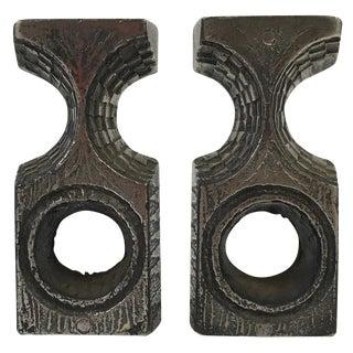 Olav Joff Brutalist Steel Candleholders - A Pair