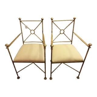 Vintage Gilt Iron Chairs - A Pair