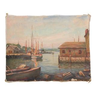 1952 Original Oil Painting of Gloucester Bay