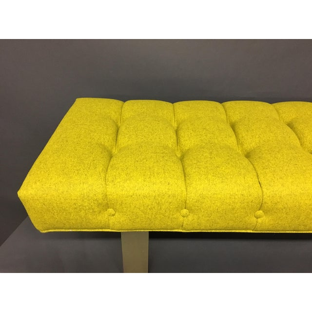 Mid-Century Modern Bright Yellow Tufted Bench on Brass Base - Image 11 of 11