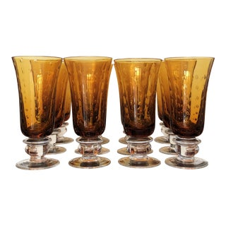 Handblown Controlled Bubbles Amber Goblets - Set of 12