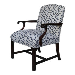 Vintage Navy & White Wooden Arm Chair