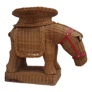 Vintage Horse Rattan Stool .