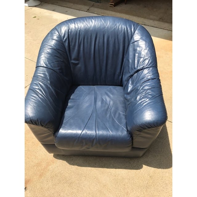 Mid-Century Modern Blue Leather Barrel Chair & Ottoman - Image 5 of 7