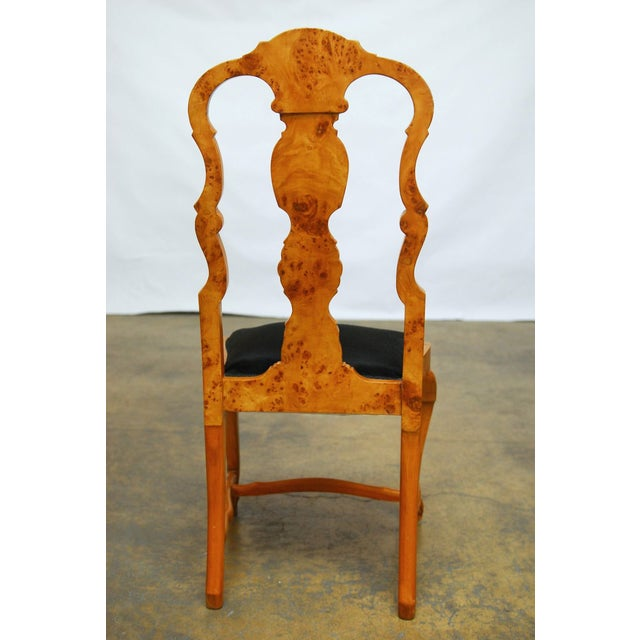 Burl Wood Queen Anne Dining Chairs - Set of 8 - Image 6 of 10
