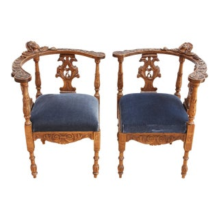 French Antique Carved Oak Corner Chairs - A Pair