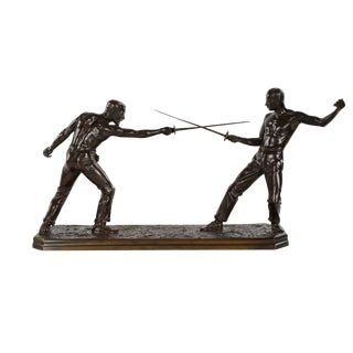 Exceptional French Bronze Sculpture of Two Fencers by Nicolas Mayer