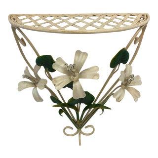 Vintage Italian Tole Flower Wall Shelf