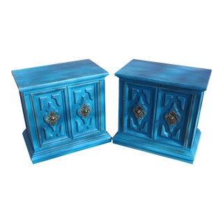 Distressed Farmhouse Turquoise Nightstands - A Pair