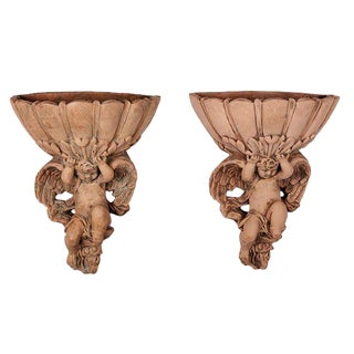 Pair of Italian Terra Cotta Cupid Wall Pockets