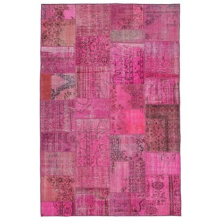"Bright Pink Overdyed Turkish Carpet - 6'10""x10'4"""