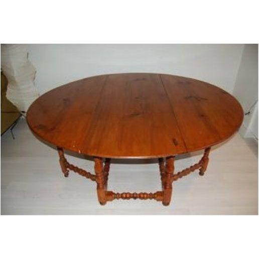 Antique Drop Leaf Gate Round Dining Table - Image 2 of 4