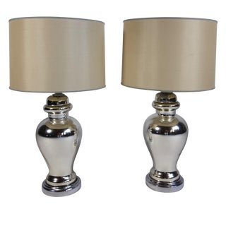 Mercury Glass Table Lamps - Pair