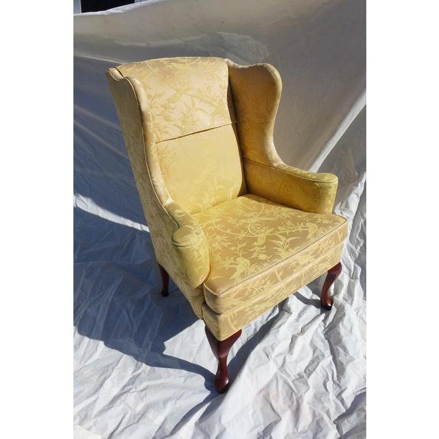 Vintage Mahogany & Yellow Damask Wingback Chair - Image 3 of 9