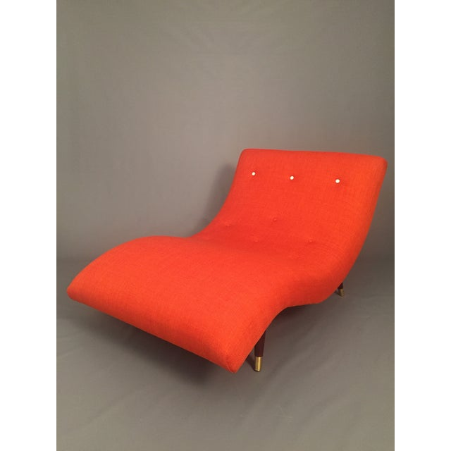Adrian pearsall style orange wave lounge chaise chairish for Chaise orange