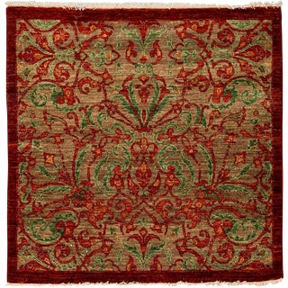 "Suzani, Hand Knotted Red Floral Motif Wool Square Rug - 4' 1"" X 4' 2"""