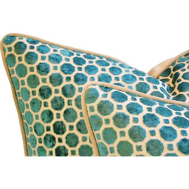 Turquoise Velvet Geometric Pillows- A Pair - Image 5 of 7