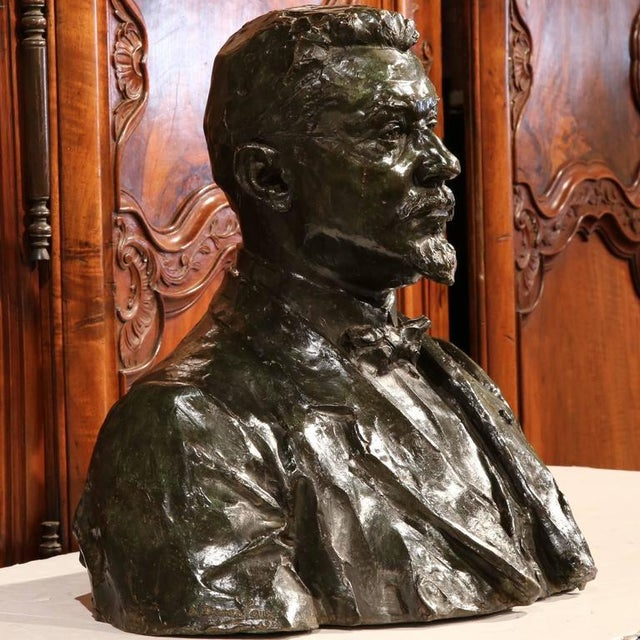 """Large 20th Century French Bronze Bust Signed """"A. Descatoire"""", 1913 - Image 5 of 8"""
