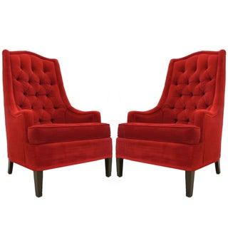 Tufted Red Velvet Hollywood Regency Chairs - Pair