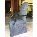 Image of Gray Upholstered Dining Chairs - A Pair