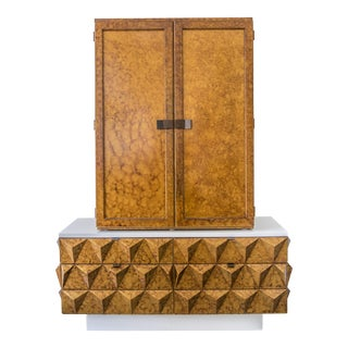 Outstanding Brutalist Diamond Relief Armoire or Cabinet