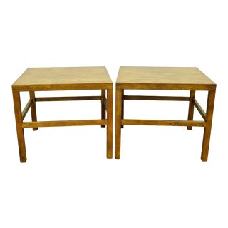 Vintage Oak Campaign Parsons Style Side Tables - A Pair