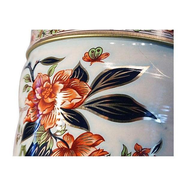 English Floral Tin Lidded Box - Image 3 of 6