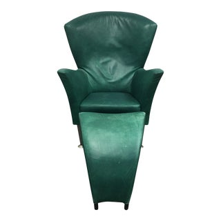 Montis Green Leather Chair & Ottoman