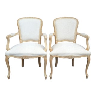French White Upholstered Chairs - A Pair