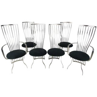 Modern Sculptural Steel Dining Chairs - Set of 6