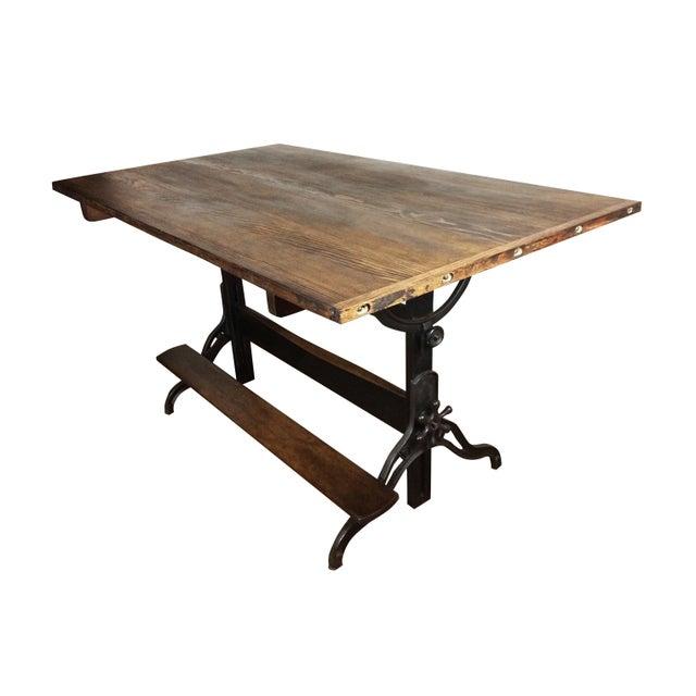 Large Antique Cast Iron & Wood Drafting Table, 1910s - 1920s - Image 3 of 5