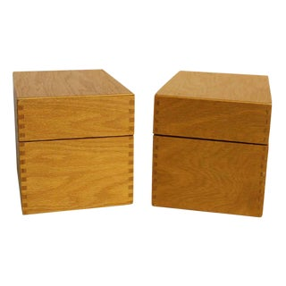 Wooden Index Card Boxes - A Pair