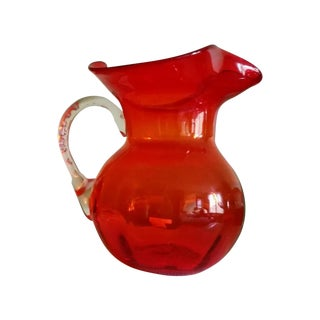 Mid-Century Modern Orange Blenko Glass Vase