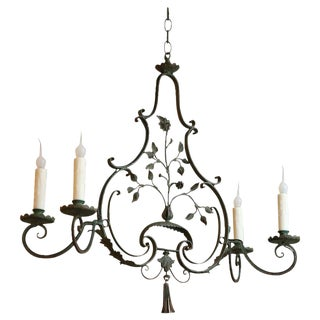 French Wrought Iron Green Painted Four-Arm Chandelier