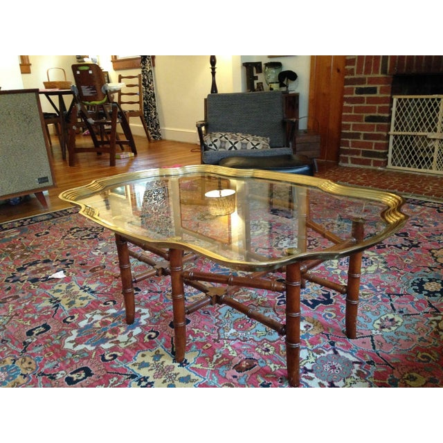 Bamboo Tiki Coffee Table: Baker Glass & Brass Tray Coffee Table With Faux Bamboo